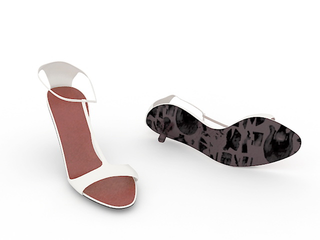 White leather sandals 3d rendering