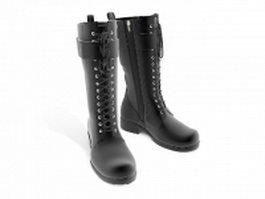 Black military combat boots 3d model preview