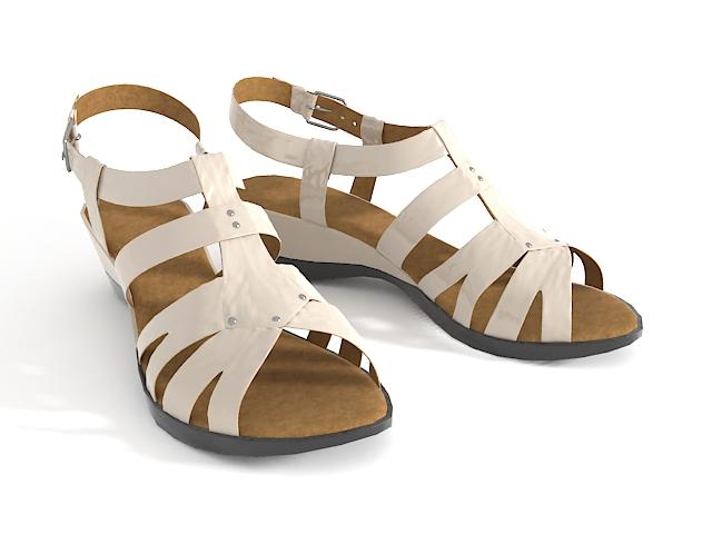 Flat sandal shoes 3d rendering