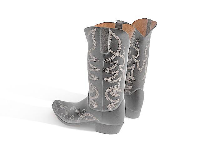 Womens cowboy boots 3d rendering