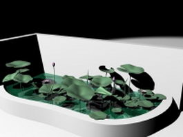 Garden pond with water lotus 3d preview