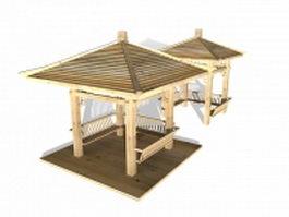 Wooden pavilions 3d preview