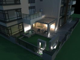 Exterior patio at night 3d model preview