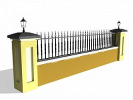 Wall with iron fence 3d preview