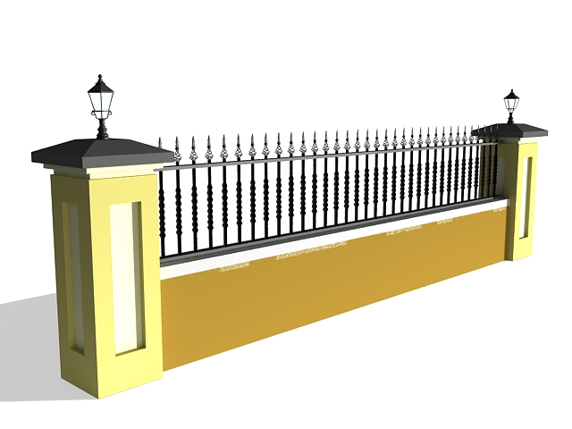 Wall with iron fence 3d rendering