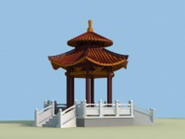 Chinese hexagon pavilion 3d preview