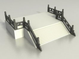 Deck with stair and railing 3d preview