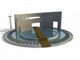 Modern water feature design 3d preview