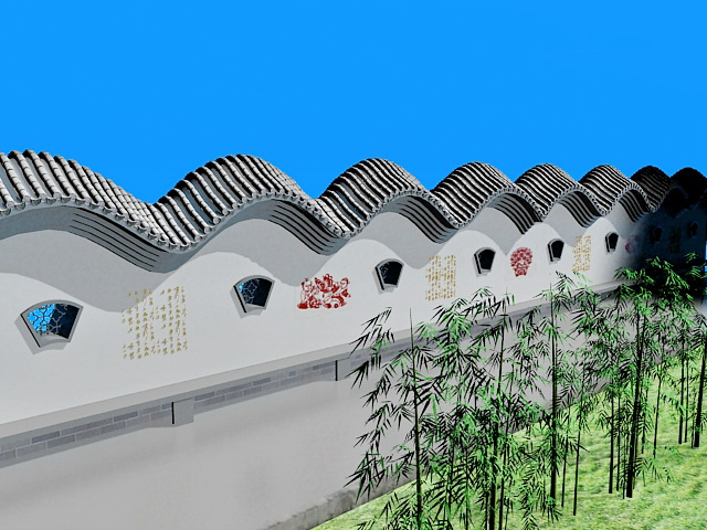 Traditional Chinese garden wall 3d rendering