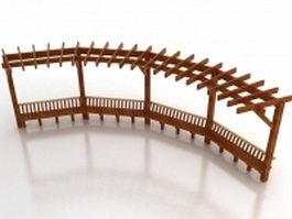Wooden pergola 3d model preview
