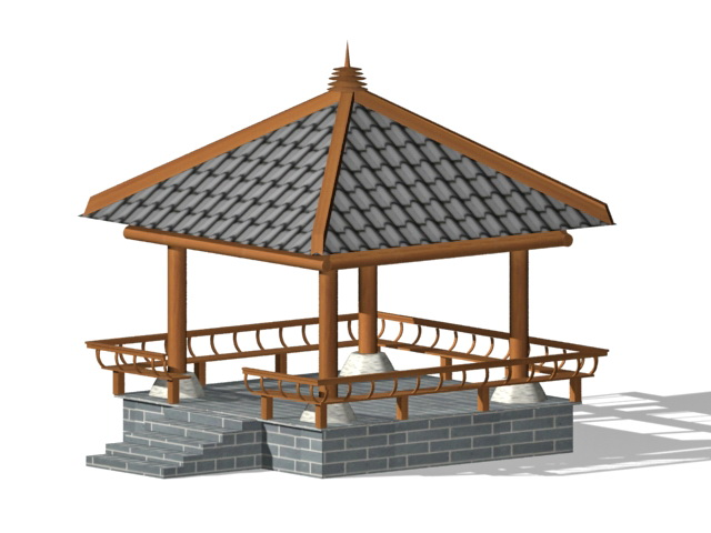 Black brick gazebo 3d rendering