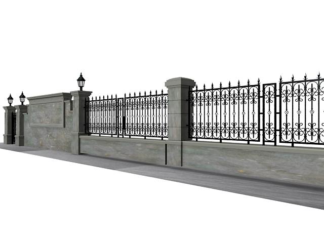 Antique garden wall fence 3d rendering