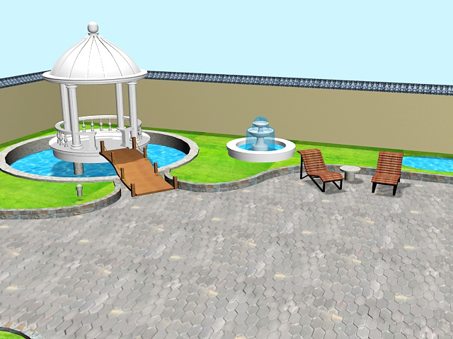 Backyard landscape ideas 3d rendering