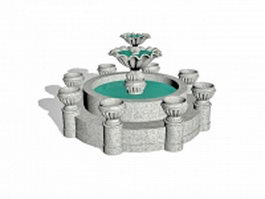 Granite outdoor fountains 3d preview
