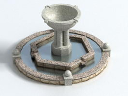 Large natural stone fountain 3d preview