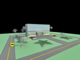 Office building and parking lot 3d preview