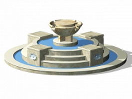 Round fountain with step 3d model preview