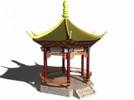 Traditional Chinese garden pavilion 3d model preview