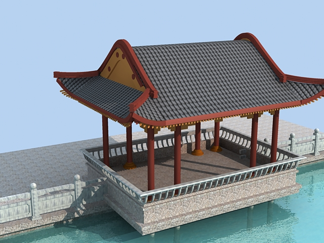 Chinese waterside pavilion 3d rendering