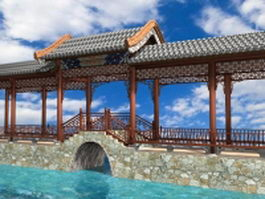 Chinese waterside pavilion with bridge 3d preview