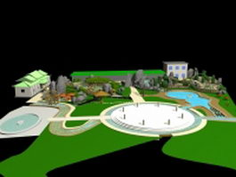 Small park landscaping ideas 3d preview