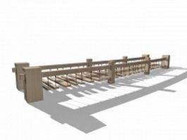 Wood plank rope bridge 3d model preview