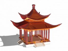 Chinese garden pavilion 3d preview