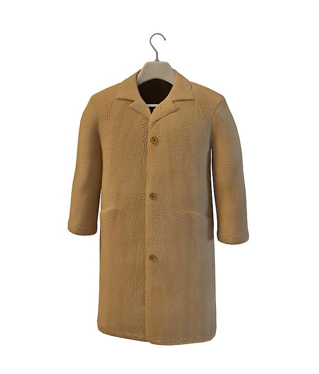 Men's beige coat jacket 3d rendering