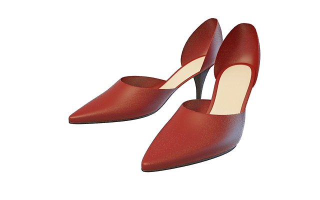 Red dress shoes 3d rendering