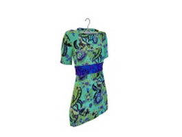 Semi-sleeve dress 3d preview