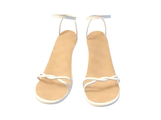 White sandals for girls 3d rendering