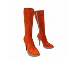 Orange high heel boots 3d model preview