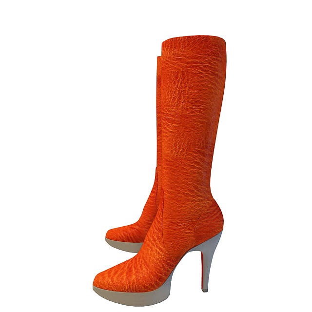 Orange high heel boots 3d rendering