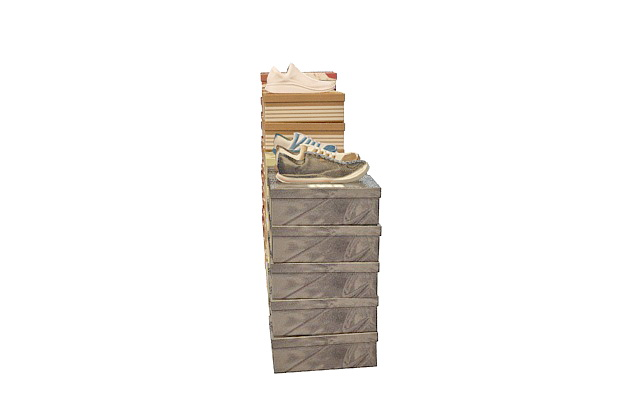 Shoe with packing boxes 3d rendering