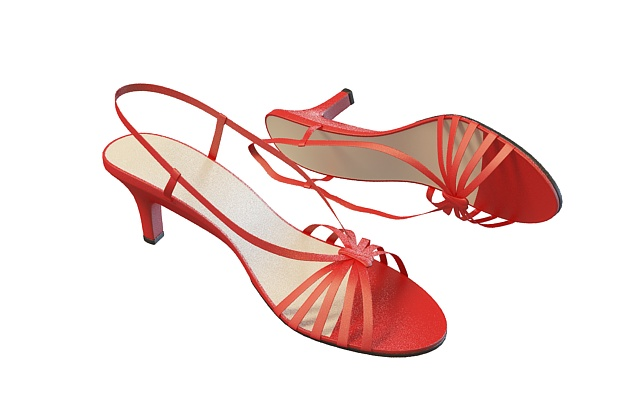 Red strappy sandals 3d rendering