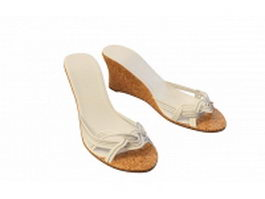 Wedge heels slippers sandals 3d preview