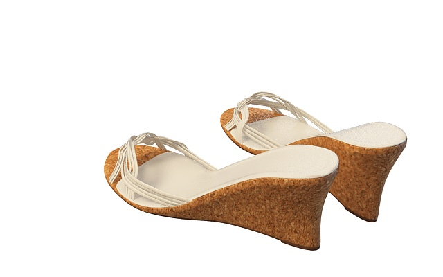 Wedge heels slippers sandals 3d rendering