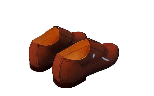 Men's oxford shoe 3d rendering