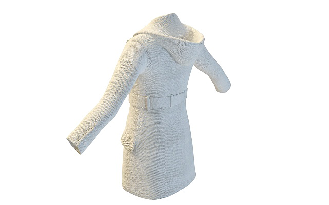 Ladies hooded coat 3d rendering