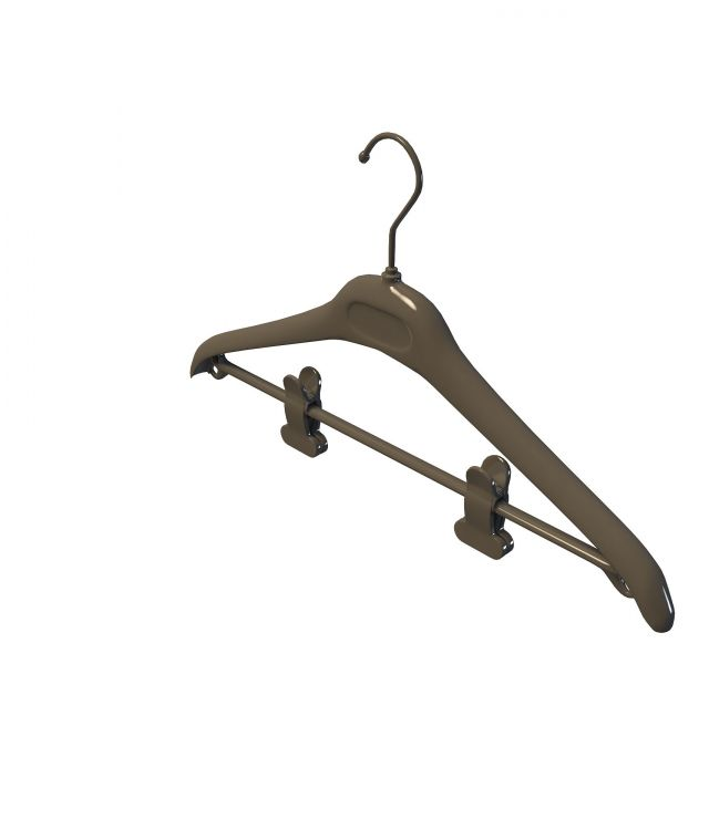 Clothes hanger with clamps 3d rendering
