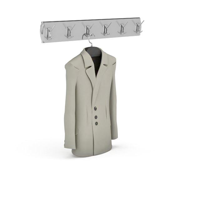 Suit and hanger hook 3d rendering