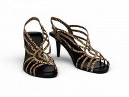 Leopard print sandals 3d preview