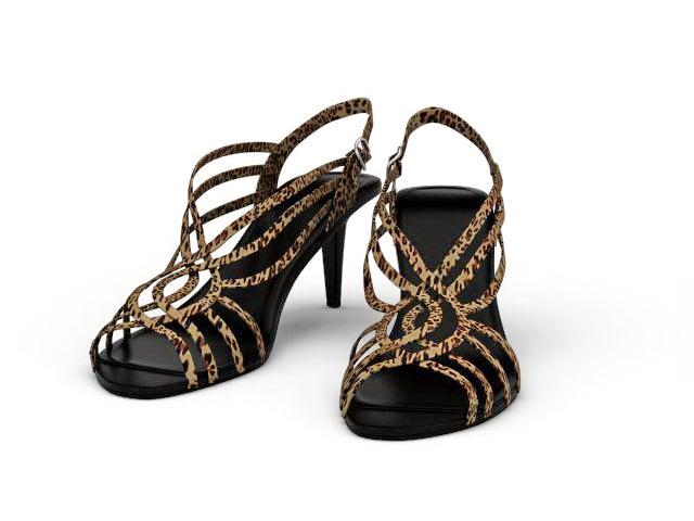 Leopard print sandals 3d rendering