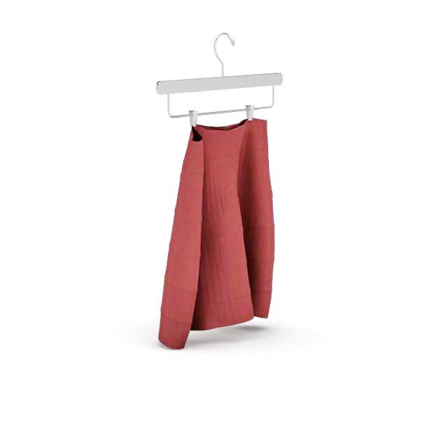Red skirt on hanger 3d rendering