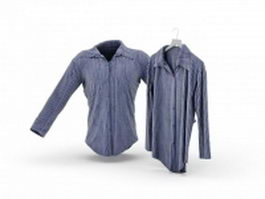 Pinstripe women's shirts 3d preview