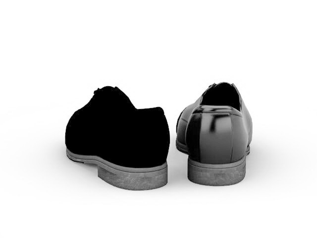 Black leather shoes 3d rendering