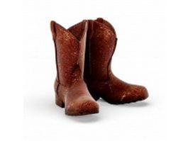 Old vintage cowboy boots 3d preview