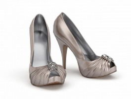 High heeled court shoes 3d preview