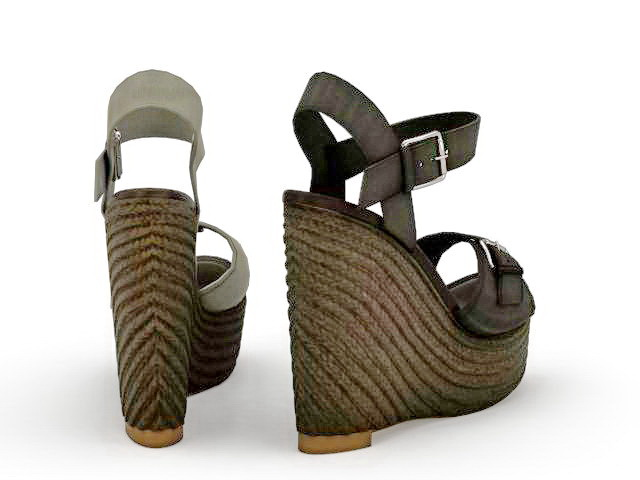 Wedge platform sandals 3d rendering