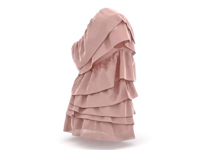 One shoulder dresses 3d rendering